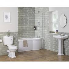 traditional bathroom suite with right hand p shape shower bath