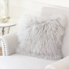White Fur Cushions Grey Mongolian Sheepskin Cushion Eluxury Home Eluxury Home