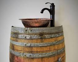 Hammered Copper Bathroom Sink Wine Barrel Sink Etsy