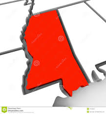 Red State Map by Louisiana Red Abstract 3d State Map United States America Stock