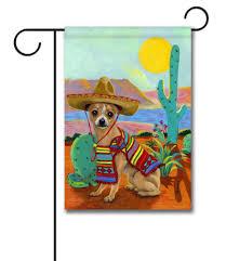 chihuahua sombrero garden flag 12 5 x 18 custom printed