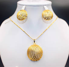 gold earrings necklace images See pretty 24k gold earrings and chain for women heart popular jpg