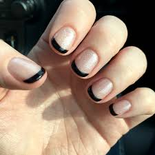black tip french manicure with sparkles on short nails nailed