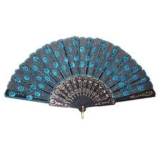 japanese folding fan 15he blue japanese folding peacock fan bead fabric