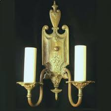 Wall Sconce Lighting Pair Elegant Antique Federal Style Brass Wall Sconce Light