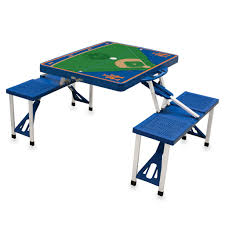 compact folding beach table the new york mets folding portable picnic table with seating for