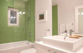 White And Green Bathroom - elegant tile wall glass accents decorate small bathroom design