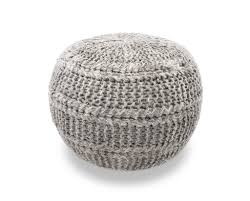 the earth company hand knitted wool pouf gray
