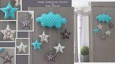 decoration nuage chambre bébé guirlande suspension étoiles nuage goutte turquoise lagon gris