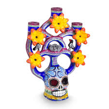 unicef market handcrafted ceramic mexican skull candle holder