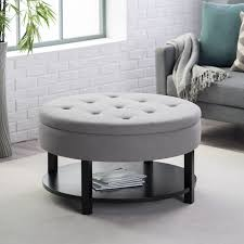 round ottoman coffee table tray pictures brown vinyl storage with
