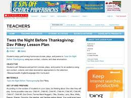 twas the before thanksgiving dav pilkey lesson plan