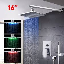 popular bath shower handle buy cheap bath shower handle lots from led shower set bath rain shower faucet mixer with led light rain shower head luxury shower