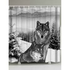 Animal Shower Curtains Wholesale Waterproof Fabric Wolf Animal Shower Curtain W59 Inch