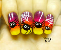 halloween cute spiders easy freehand nail art tutorial starrynail