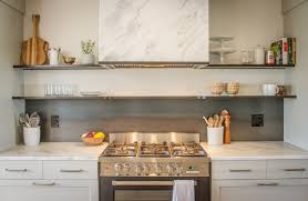rolled steel kitchen backsplash with floating shelving r
