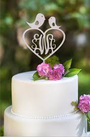 birds wedding cake toppers buythrow customized monogram birds wood cake topper with