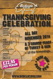 bar and restaurant menus for thanksgiving day 2013