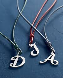 charm leather necklace images Large script initial on riata leather necklace jamesavery 2017 jpg