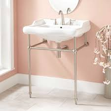 bathroom console sink brass stand brushed nickel cool features