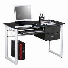 Black Tempered Glass Computer Desk Attractive Glass Computer Desk With Drawers Interior Design