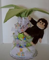 Diaper Centerpiece For Baby Shower by Diaper Cake Palm Tree Gorilla Jungle Safari Monkey Baby Cake
