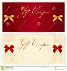 gift voucher coupon template bow ribbons royalty free stock