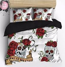 sugar skull comforter sets durable and beautiful design ultra soft