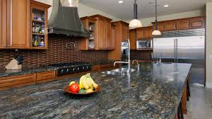 granite countertop kitchen wall cabinets sizes blue backsplash