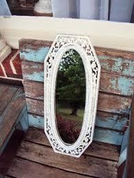 vintage shabby chic wood jewelry box display mirror distressed
