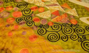 Modern Green Rugs by Klimt Green Swirls Modern Abstract Rug Wall Art Hand Embroidered