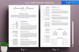 2 page resume template minimal resume cv template resume templates creative market
