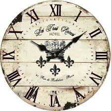 french script beautiful wooden round decorative wall clock post