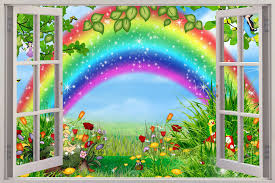 wall decal wallpaper wallpapersafari window childrens fairytale rainbow view wall stickers