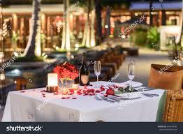 Brunch Setup Pool Side Candlelight Dinner Romantic Sunset Stock Photo 564796696