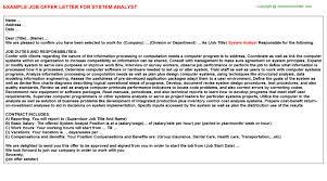 system analyst offer letter