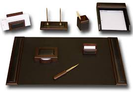 Office Accessories For Desk D8412 Walnut Leather 8 Desk Set