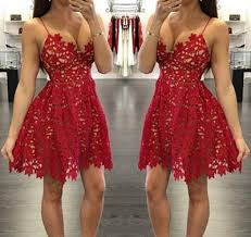 camisole neckline short lace red homecoming dresses party dresses