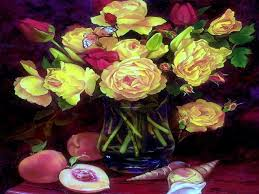flower late night colorful paintings butterfly designs roses