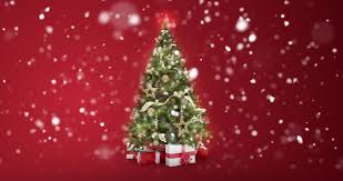 sparkling lights tree and merry greeting message in