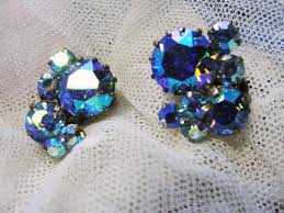 50s earrings dazzling signed triad vintage 50s clip on earrings blue