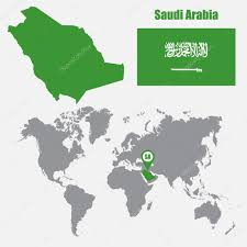 saudi arabia world map saudi arabia map on a world map with flag and map pointer vector