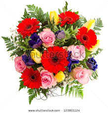 flowers bouquet fresh colorful flowers bouquet pink stock photo 123801124