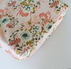 fitted crib sheet summer blooms flower floral nursery coral