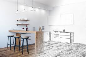unfinished kitchen furniture drawing unfinished kitchen interior stock photo image of
