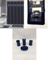 Dark Brown Bathroom Accessories by Amazon Com 22 Piece Bath Accessory Set Navy Blue Flower Bathroom