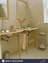 Wooden Vanity Units For Bathroom by Under Set Circular Stainless Steel Basins In Pale Wood Vanity Unit