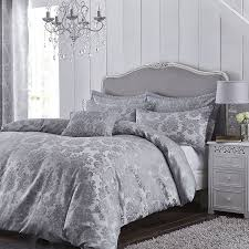 catherine lansfield damask jacquard duvet cover set in silver