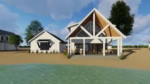 small modern cabin scandia modern cottage house plan rear view floor plans