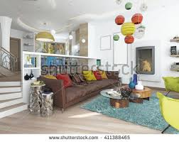 Luxury Livingroom Style Kitsch Contemporary Living Stock